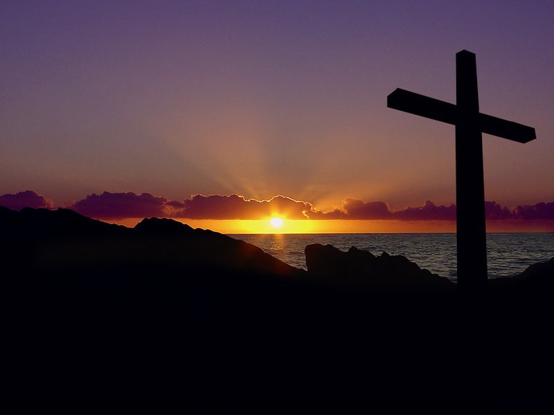 Cross-at-sunrise