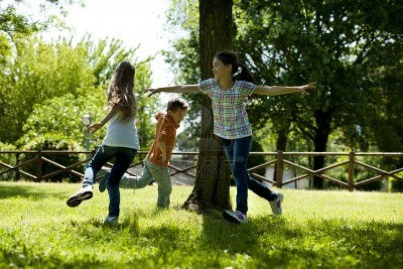 15455472-small-group-of-children-playing-running-around-a-tree-playing-tag