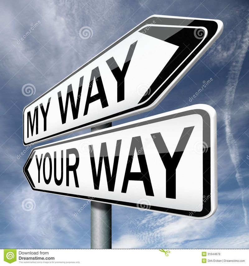 Your-my-way-road-sign-arrow-you-high-different-opinion-opposite-disagreement-stand-off-opinions-31044679