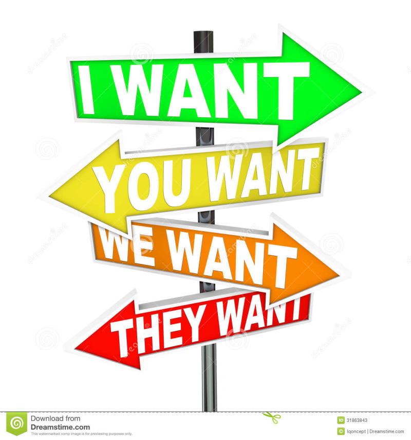 Desire-clipart-my-wants-needs-vs-yours-selfish-desires-signs-several-colorful-arrow-street-words-i-want-you-want-want-31863843